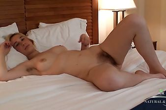 cayenne rubs and stuffs her hairy pussy with a toy