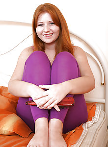 Crimson haired legal age teenager with giant breasts unclothing and diddling her fur covered labia
