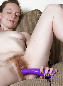 Ana Molly is a hairy redhead that just got a new dildo