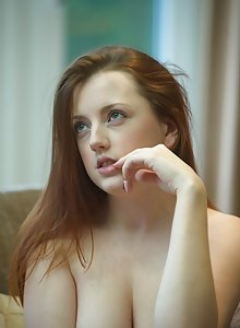 Beautiful busty natural redhead Jenny Smith plays with her panties