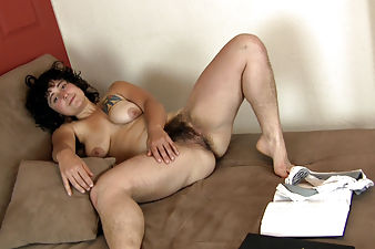 Valerie takes a study break in hairy porn