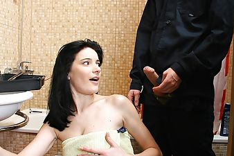 Showering horny brunette screwed by a massive dick