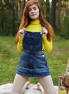 Alluring redhead Jia Lissa has a horny picnic with her tiny tits and luscious pussy