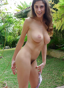 ATK Hairy Abbey showing off her beautiful big natural tits and hairy pussy
