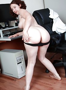 Artemesia strips off her clothes at work to reveal her hairy pussy