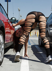 Ripped up sheer yoga pants is the only thing between you and Tiffany Drake's pussy
