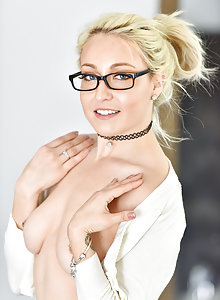 Valerie looking hot in glasses toying her bald cunt