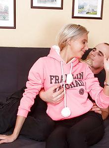 Blonde teen whore impaled on huge pecker