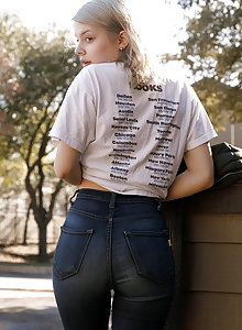 Cute as a button blonde next door Phaedra James in jeans flashing her little tits on the sidewalk