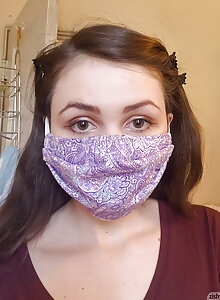 Super cute brunette with a hairy pussy wearing a face mask to stay safe