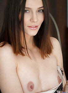 Perfect tits babe Adel Morel shows her puffy nipples and big areolas and bares her delectible cunny