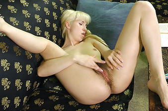 Blonde nympho Sasha K spreads her hairy pussy
