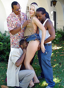 Golden-haired fuckslut Olivia bushes her teeth with nectar after group-sex with black males