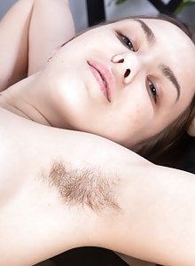 Beautiful brunette coed Terry Woods strips rubs her clit after tea