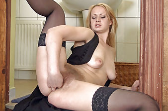 Hairy secretary Nika enjoys playing in lingerie