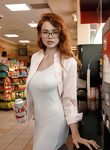 GOrgeous ginger Sabrina Lynn showing her panties in public