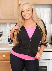 Gorgeous BBW Jem Is a Blonde Dream In The Kitchen While She Strips and Works Out