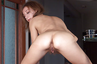 Hairy Girl Darina dances in the kitchen