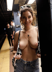 3 sexy girls teasing on the streets in New York City