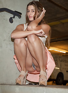 Gorgeous brunette college coed Stephie Musso with some public upskirt shots