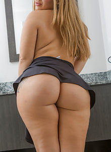 Thick and nasty latina lifts up her skirt and bends over to show her huge ass and big tits