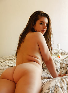 Chubby young brunette Monica Horne lounging at home and showering