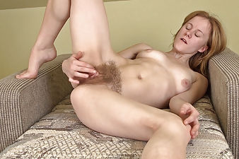 Krista's hairy porn home video on a fold out chair