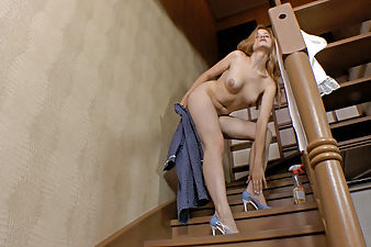 Hairy model Ira K gets horny while dusting