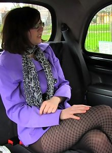 Nerdy girl Jessica fake taxi sex
